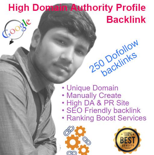 I will create manually 250 High Quality Profile Backlinks with High DA & PR