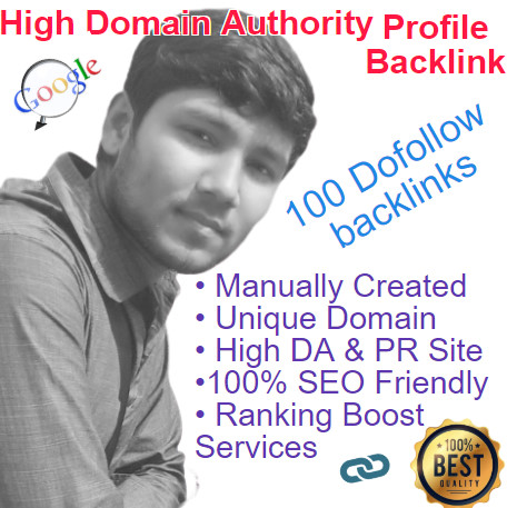 I will create manually 100 High Quality Profile Backlinks with High DA & PR