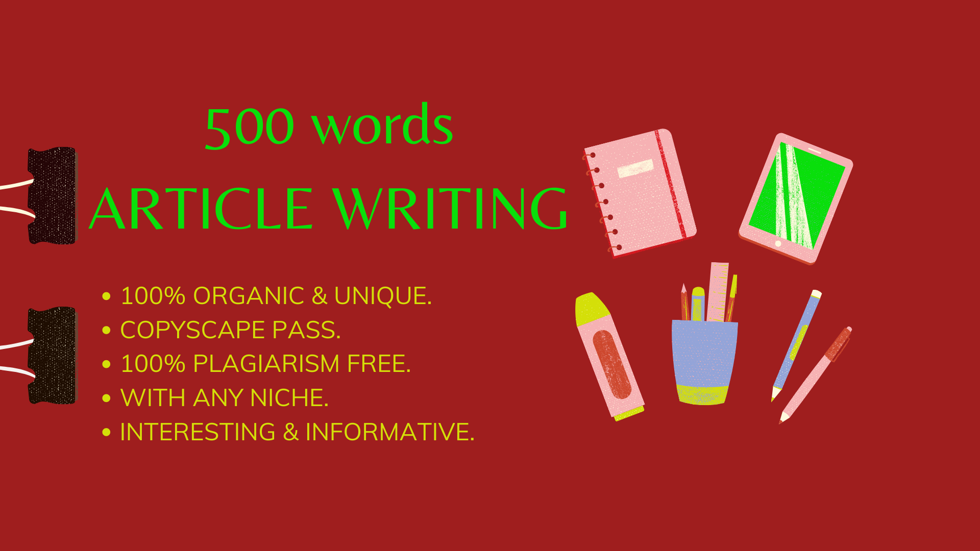 I will do 500 words article writing by your niche