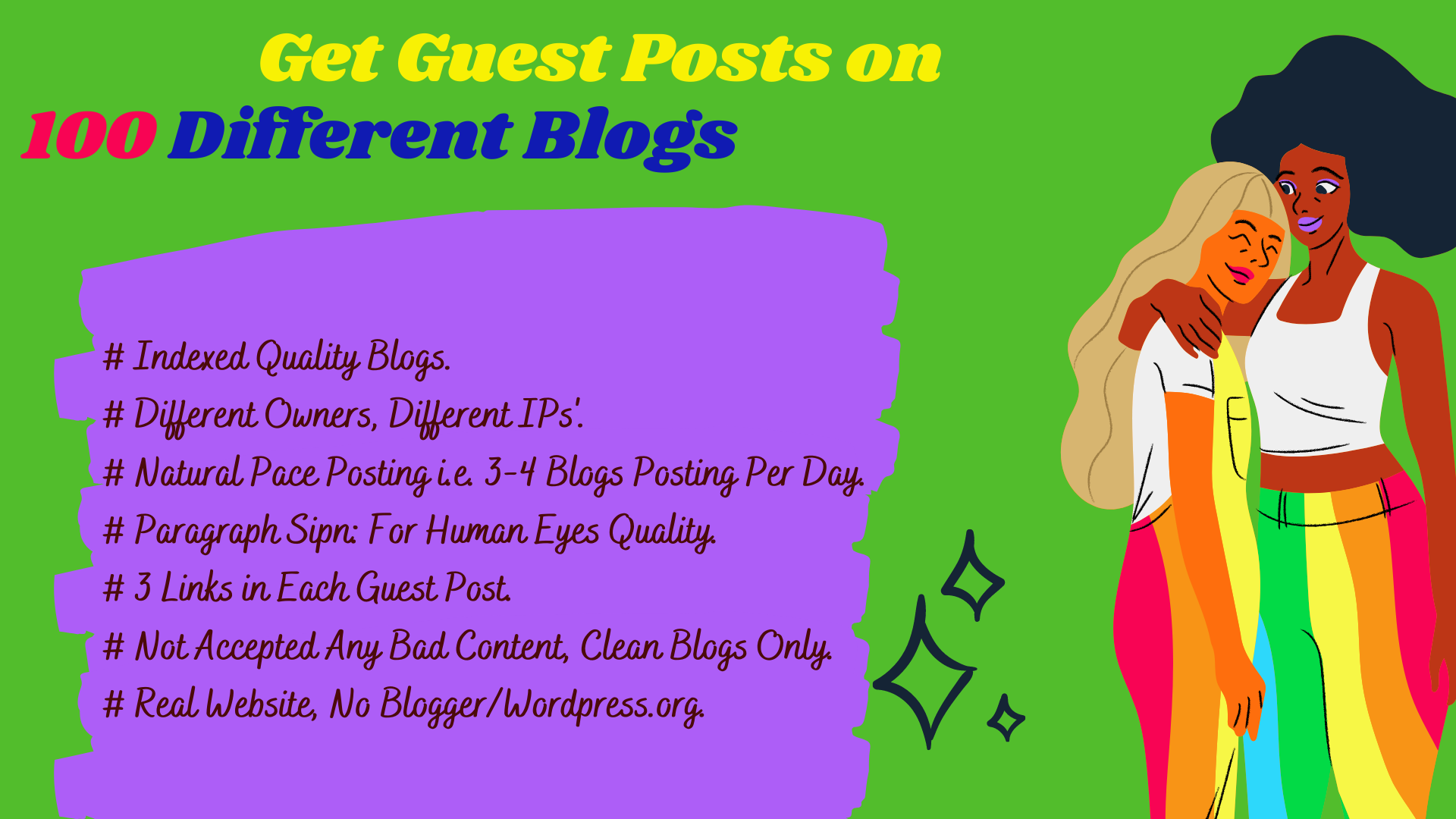 I will do 100 guest posts i.e. get 100 blog and 250 backlinks