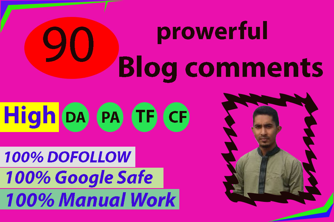 I will do 90 dofollow blog comments backlinks high da pa sites
