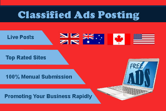 I will do manually 100 post your ads on classified ad posting sites