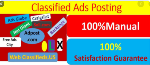 I will manually 50 post your ads on classified ad posting sites