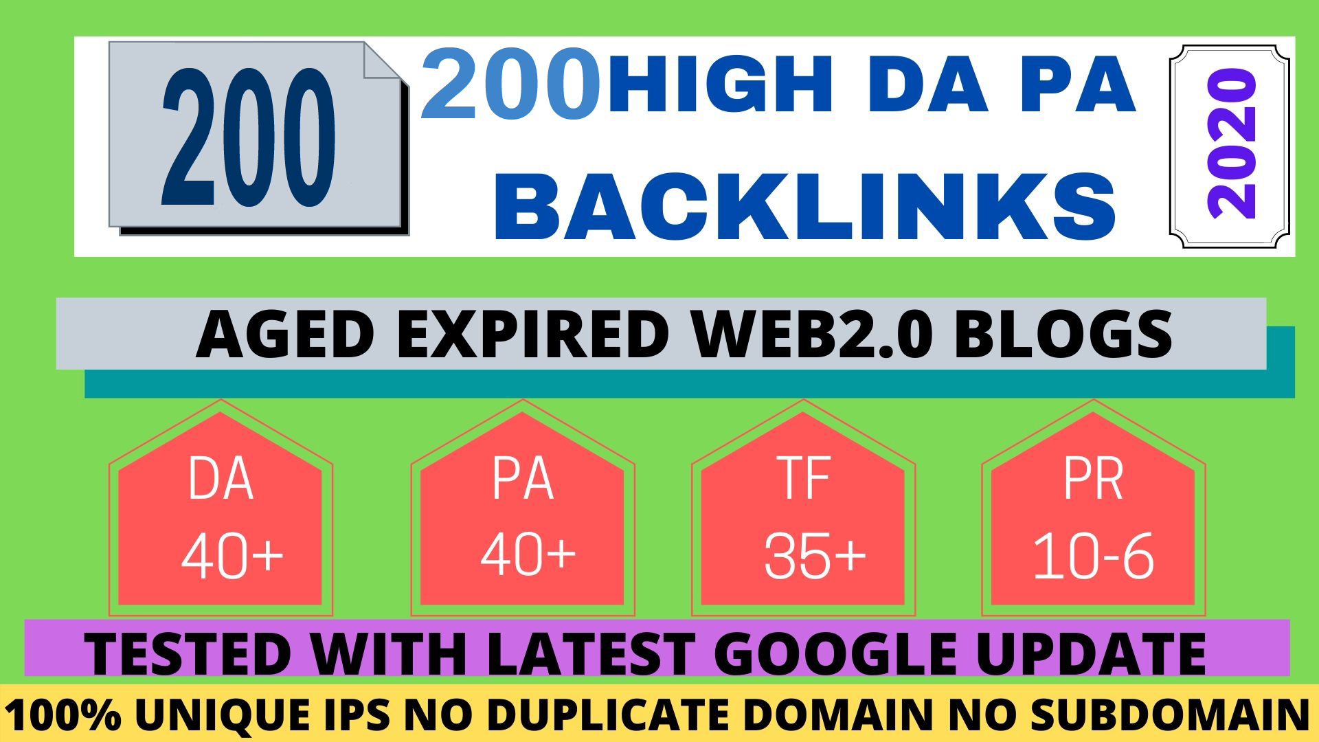 Build 200+ Permanent web2.0 Backlink with High TF,  CF,  DA,  PA with unique website