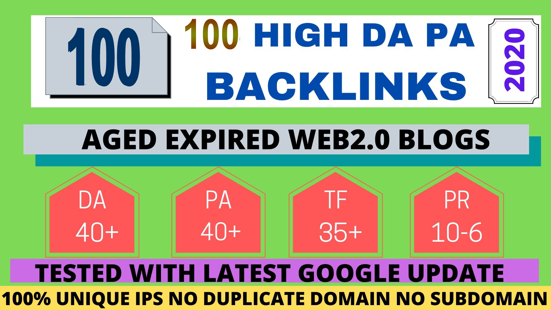 Build 100+ Permanent web2.0 Backlink with High TF,  CF,  DA,  PA with unique website
