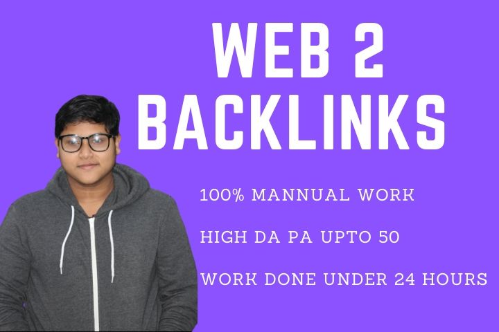 50 High DA PA Qualityful web 2 Back links Under 2 days