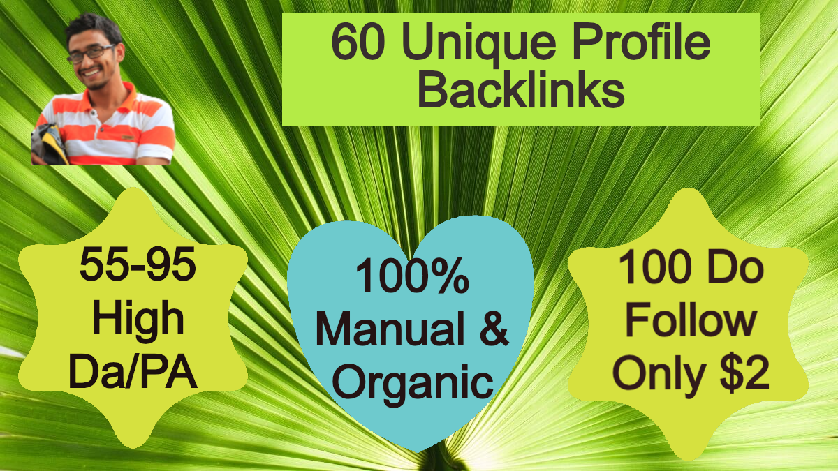 I Will Provide 60 High Quality DA PA Profile Backlinks