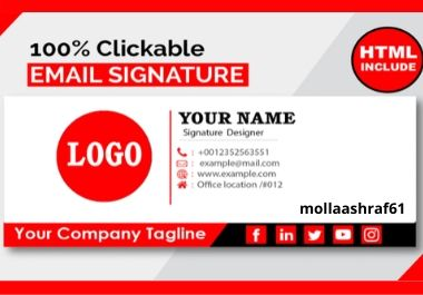 Clickable professional HTML Email Signature