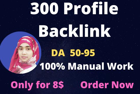 I will create 300 high DA and PA 50 to 95 profile backlinks.