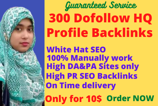 I will create 300 high DA and PA 40 to 95 profile backlinks.