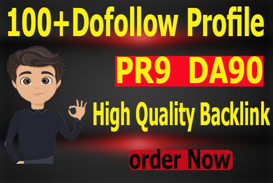 manually create 100+ pr9 da90 dofollow profile backlinks