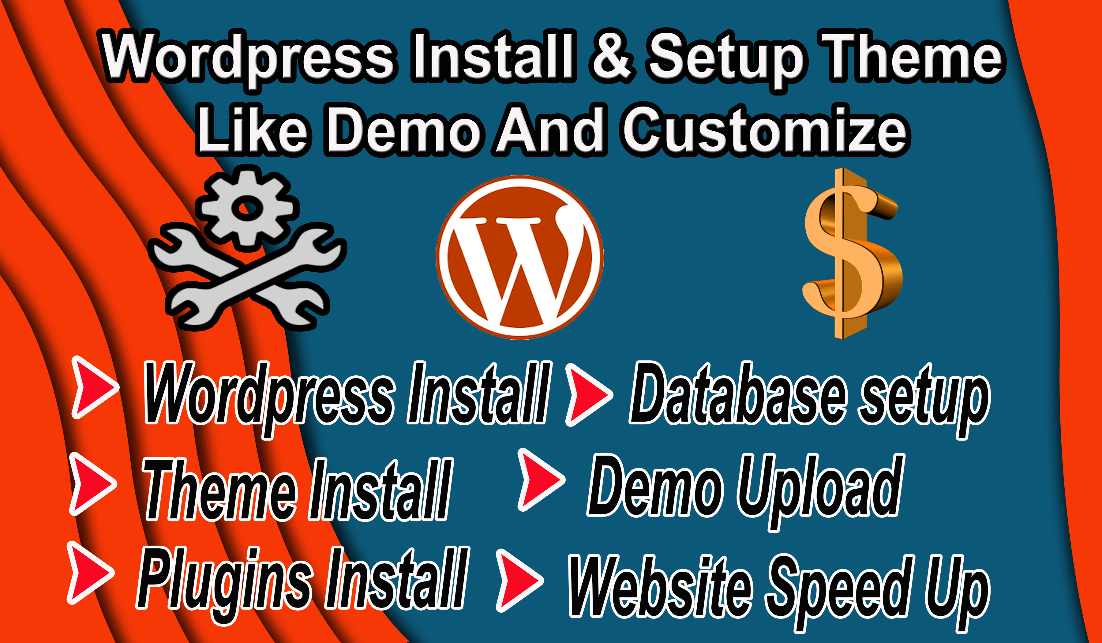 I will install WordPress,  theme setup,  demo Upload,  Speed Up And Do customization