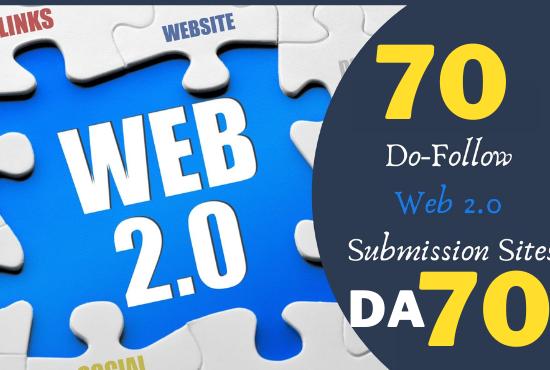 SEO friendly 70 unique sites dofollow permanent powerful web2.0 dofollow backlink