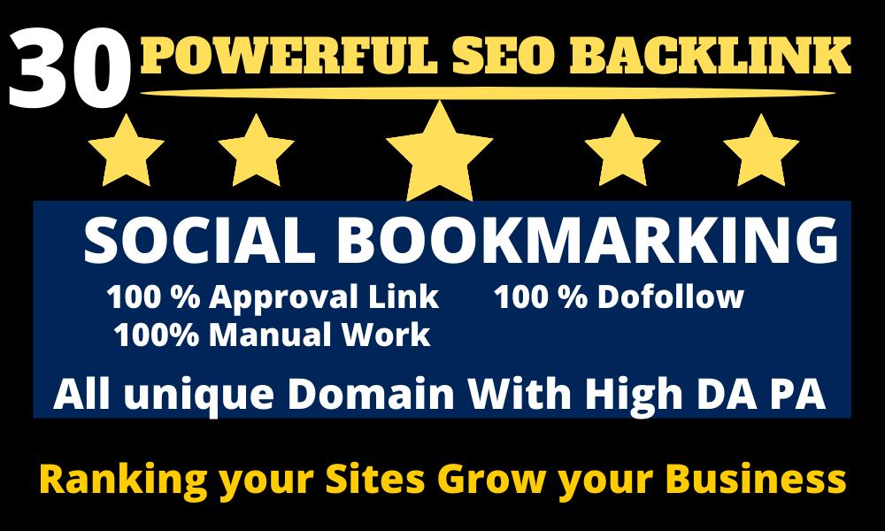 I will do Manual Powerful Social Bookmarking Dofollow Backlink with High DA PA