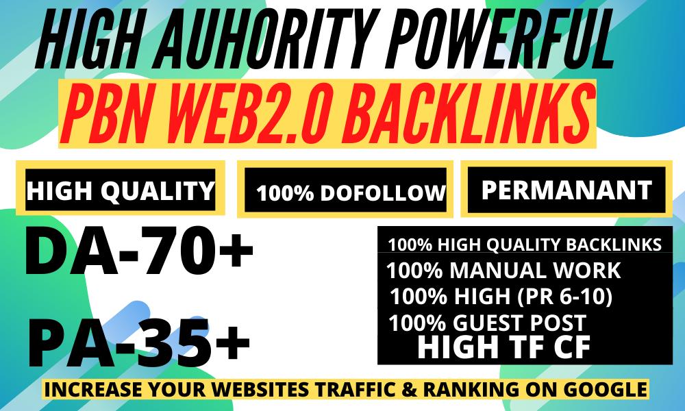 Premium 45 WEB 2.0 Backlink with Permanent Do follow & High DA 70 PA TF CF