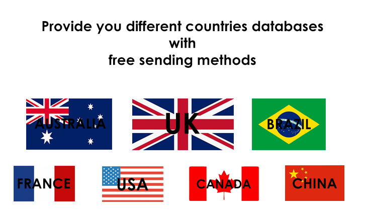 I will provide you different countires databases with free sending methods