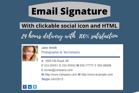 I will design a professional clickable HTML email signature