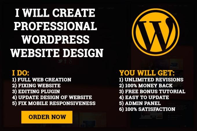 I will design responsive WordPress website for you