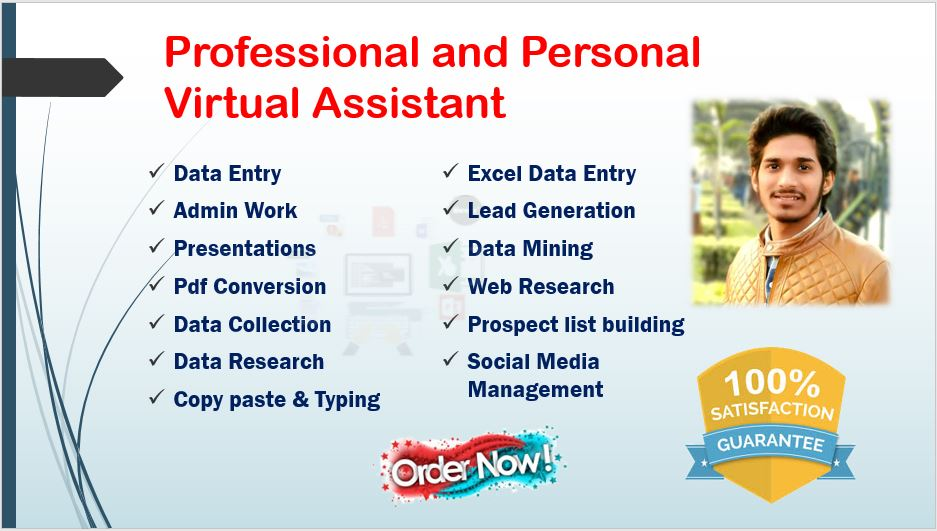 I will be your virtual assistant and will do any type of data entry work