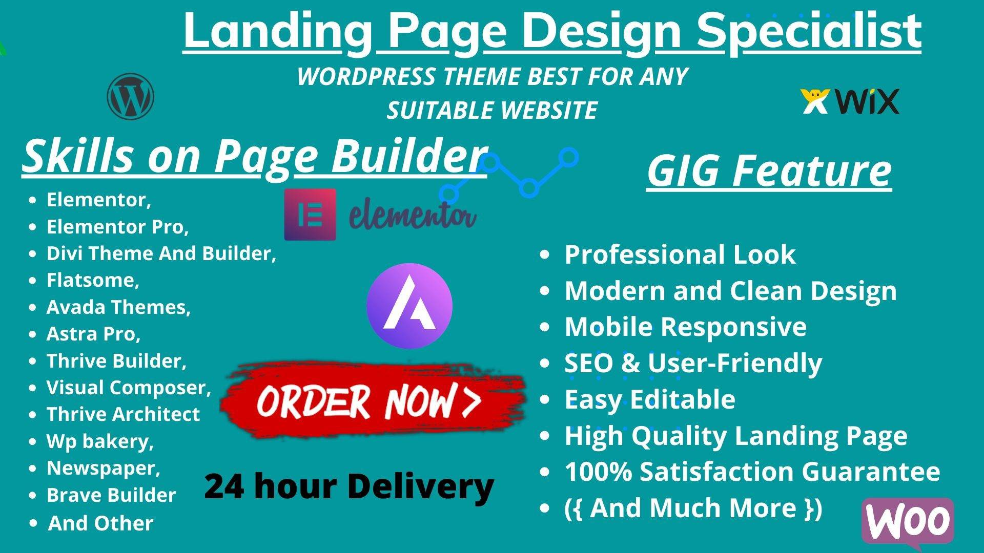 I will design wordpress landing page design with page builder