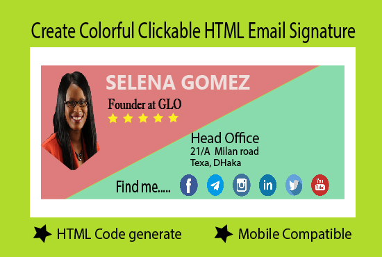 I Will Create Colorful Clickable HTML Email Signature