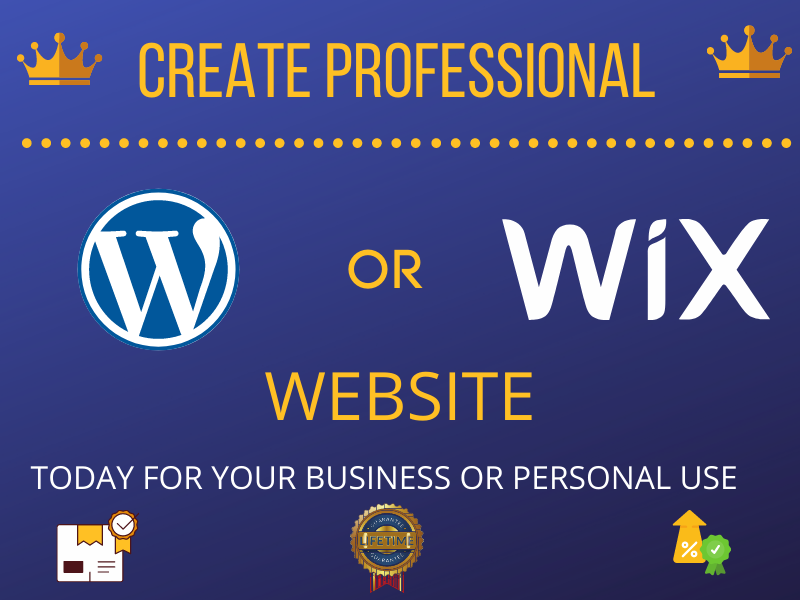 I will design an amazing WordPress or Wix website for you business or personal use