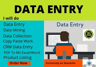 I will do your virtual assistant for data entry,  data mining,  copy paste,  web research