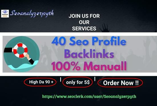 I Will Create 40 High DA and PA Social Profile Backlinks