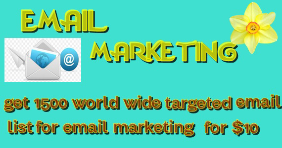 Get 1500 world wide targeted email list for email marketing