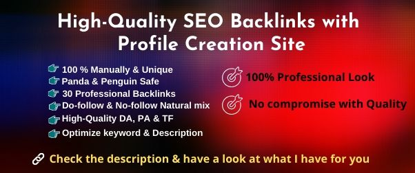60 High Authority complete profile creation backlinks manually