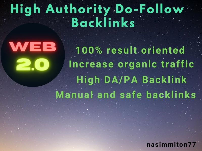 I will make 20 high authority web 2 0 backlinks