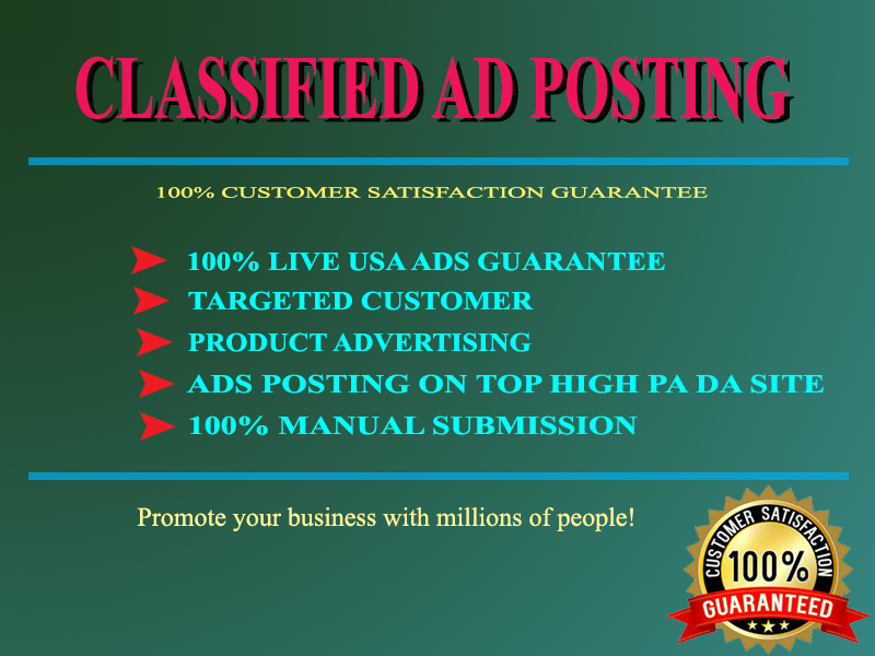 I will do 50 classified ads submission,  manually in USA,  UK & Canada