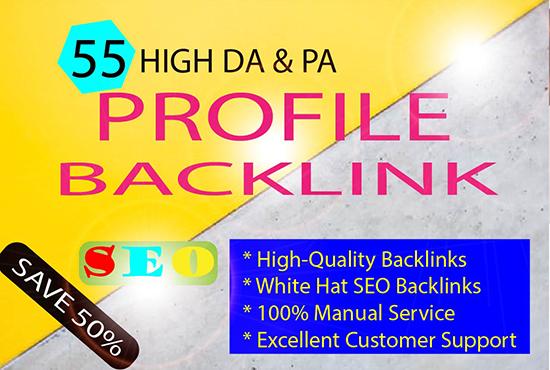 I Will Create 55 Profile BackLink With High DA & PA