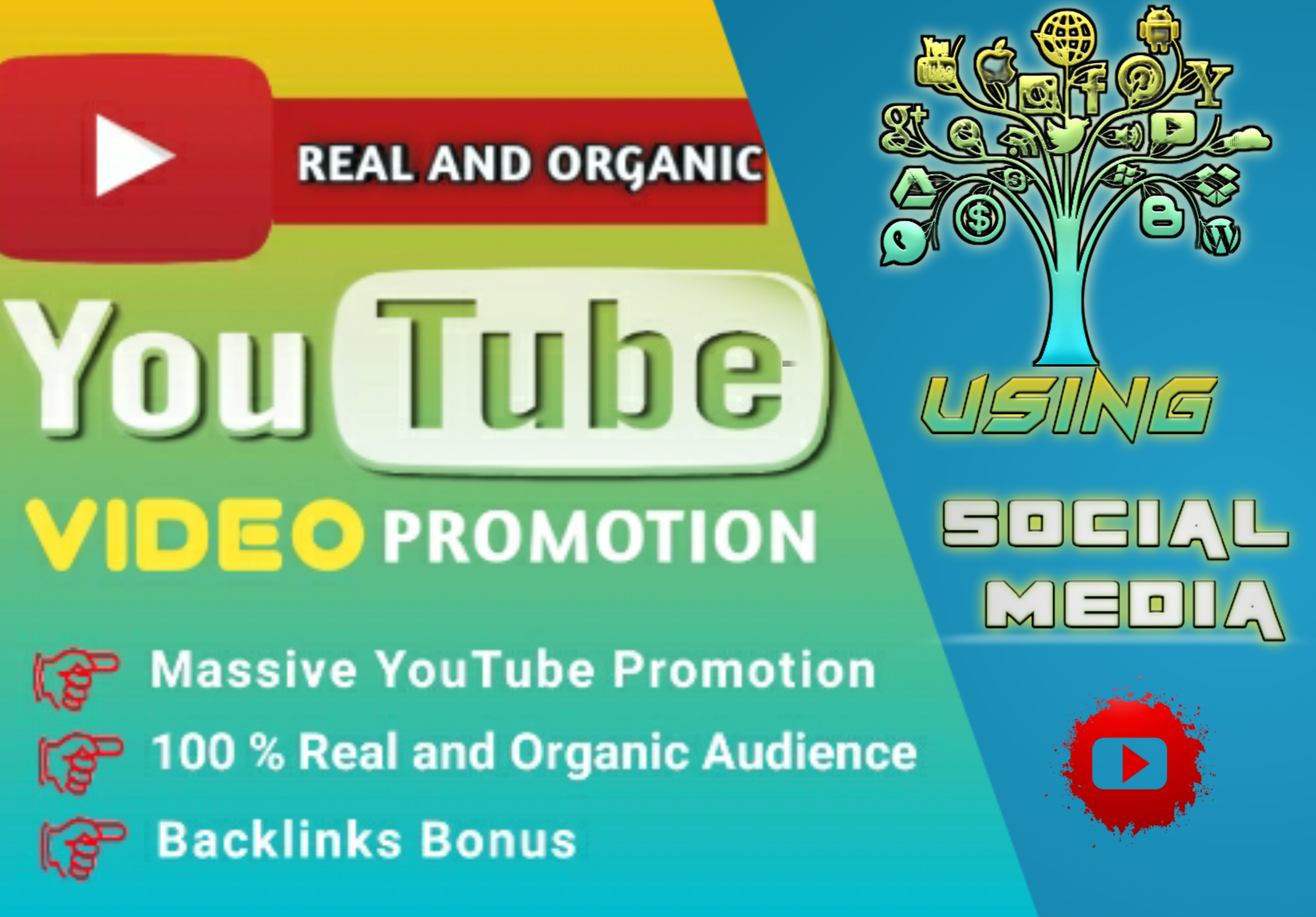 Organic YouTube video promotion using social media plus bonus backlinks