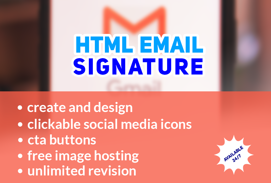 Create Html Email Signature with clickable social media icons and CTA button