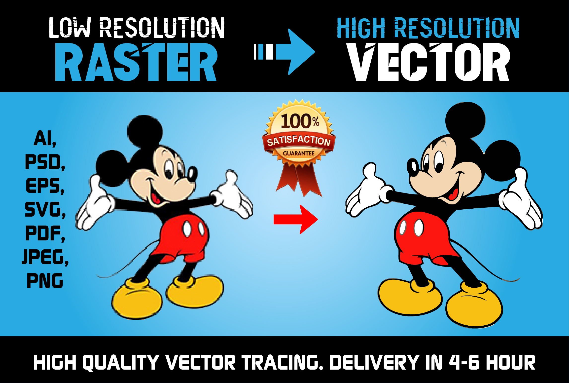 I will do Vector Tracing,  Redraw or Convert to Vector Manually in 12H