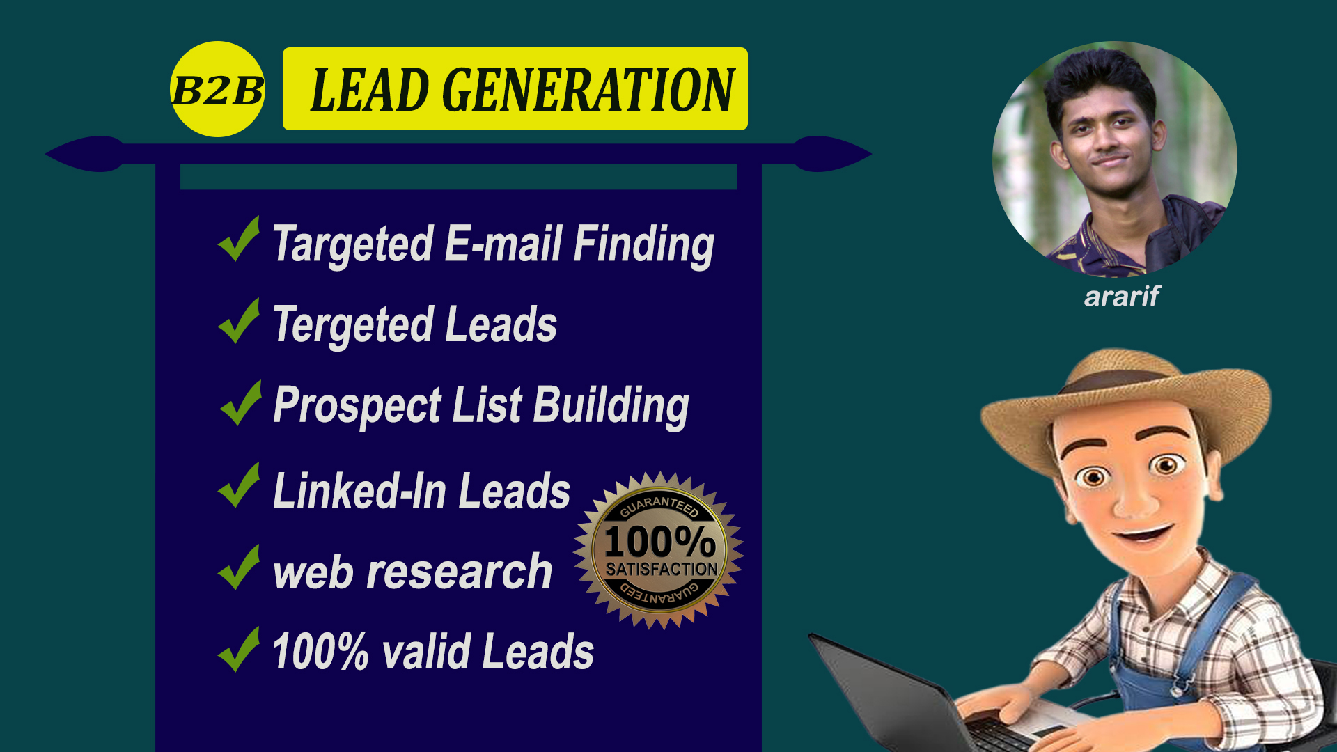 I will find targeted b2b leads and prospect list building