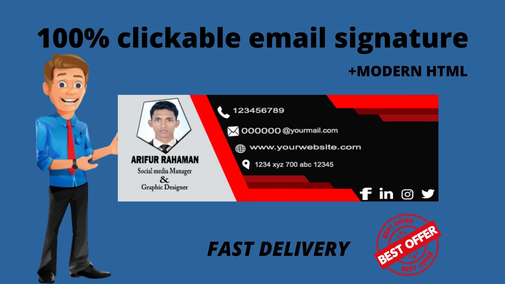 I will make clickable modern HTML email signature