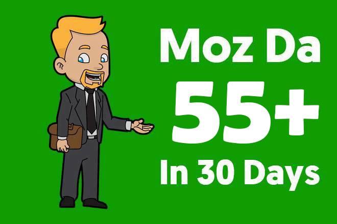 I will increase MOZ domain authority DA 0 to 55 plus