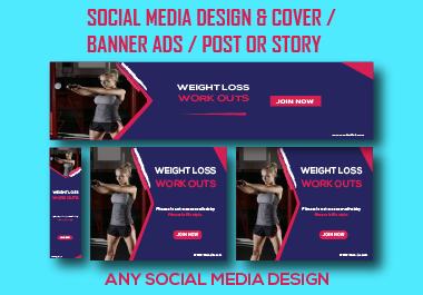 I will design professional social media cover or website banner or header