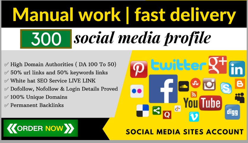 I will build 300 manually work high da pa social profile backlinks