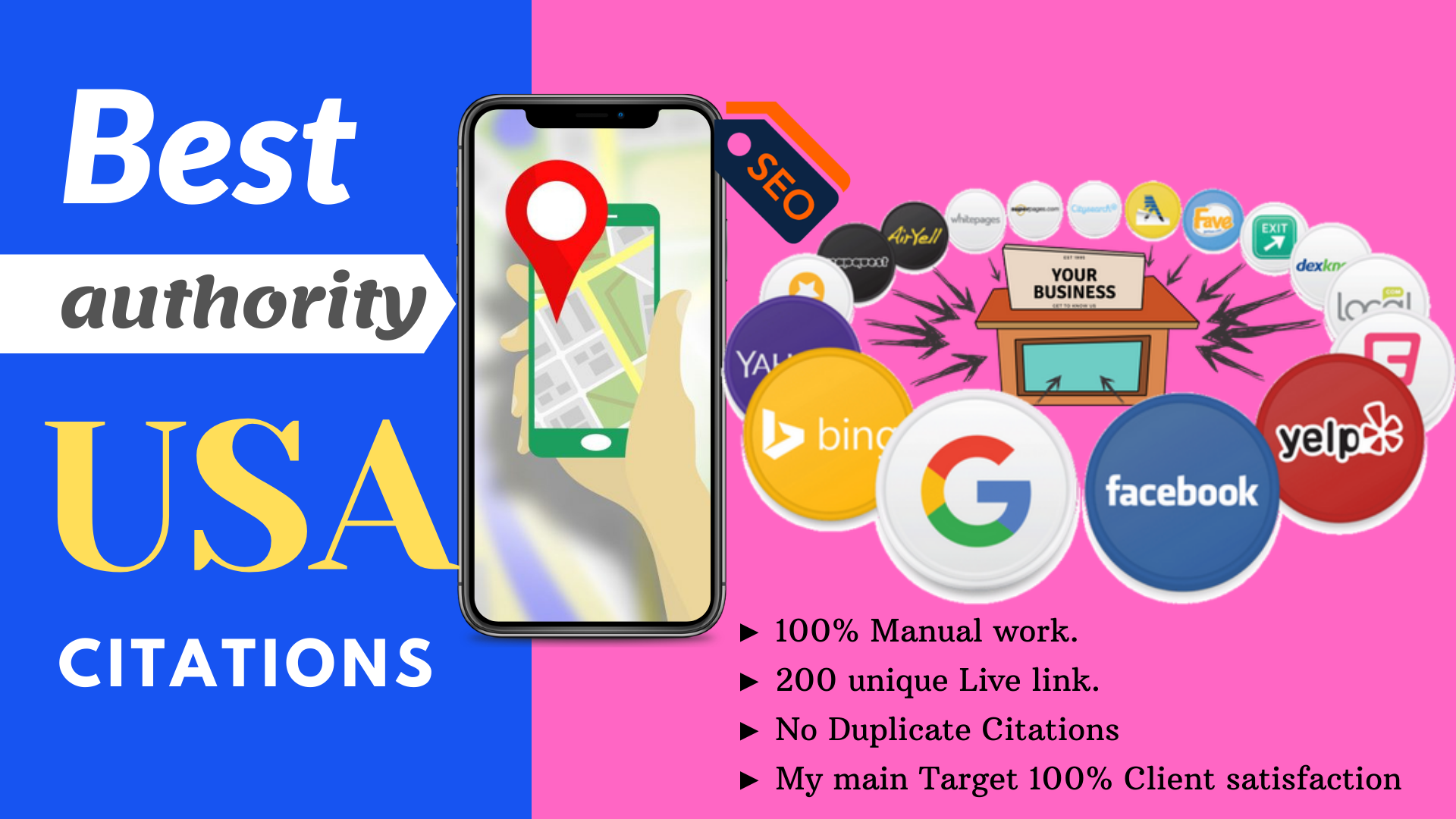 Get Accurate 60 local citations or local listings for USA