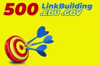 I will 500 edu backlinks manually created from high da site