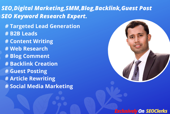 I will do high PR45 TOP Social Bookmarking Backlink,  Blog Comment,  Content & Writing for website