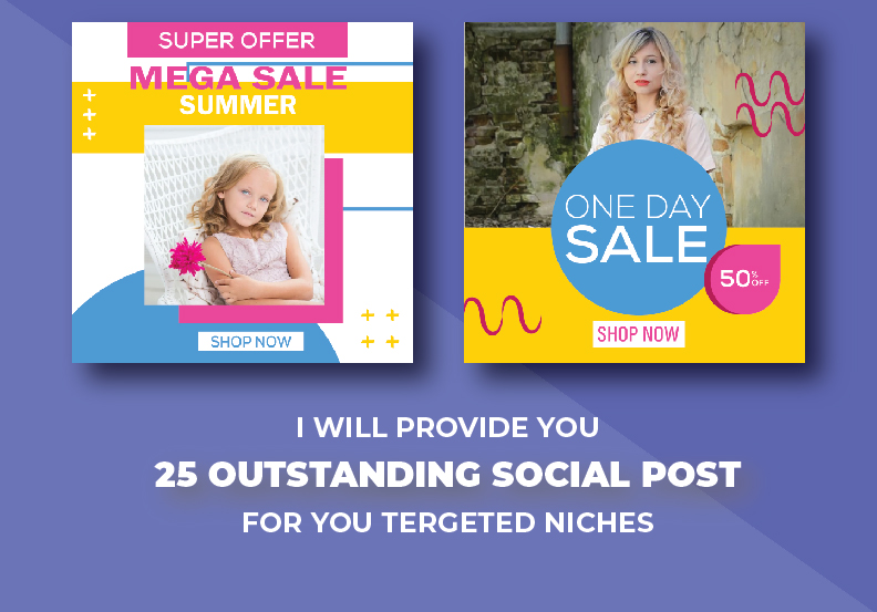I will Provide you 25 Outstanding social Post for your Targeted Niches