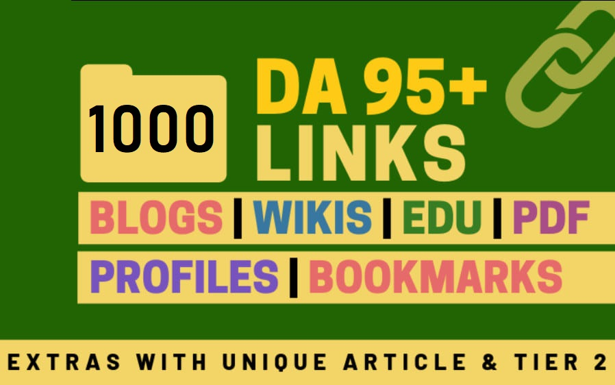 1000+ High Average DA 95+ HQ Links to Ranking Your Website