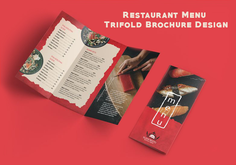 I will design restaurant,  food menu trifold brochure in 24 hours