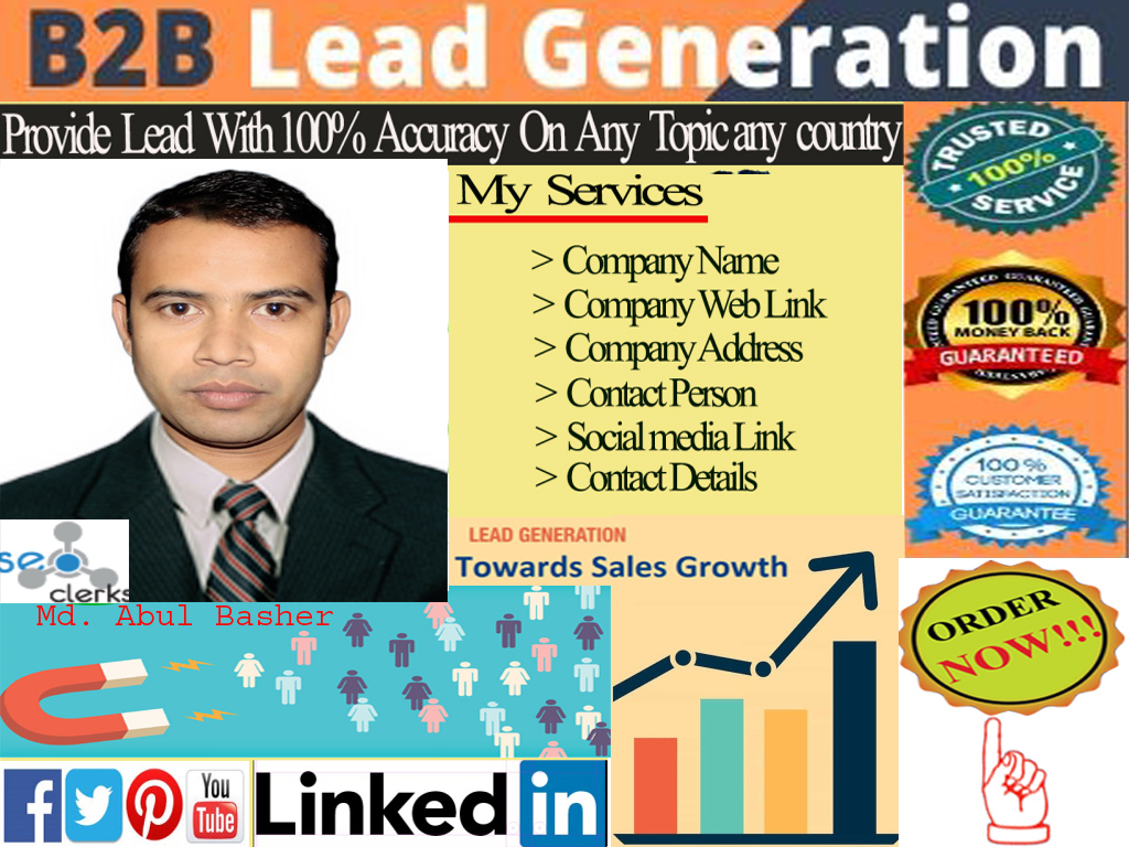 I will do 100 b2b lead generation for target industry and target location / people