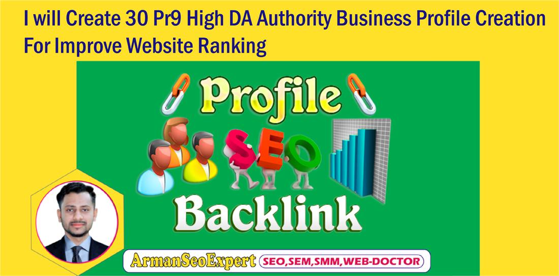 I will Create 30 Pr9 High DA Authority Business Profile Creation For Improve Website Ranking