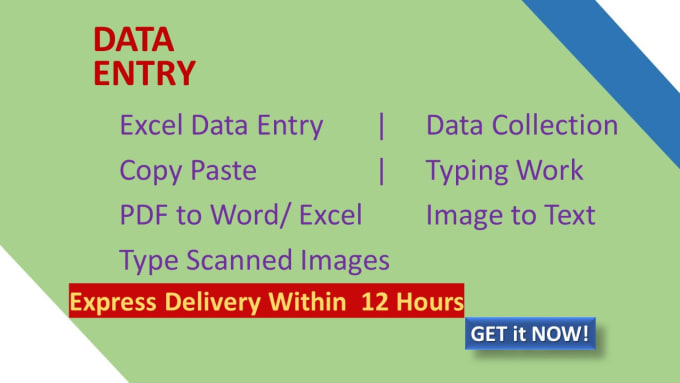 I will do data entry, copy typing, data extraction, data scraping 1 hour